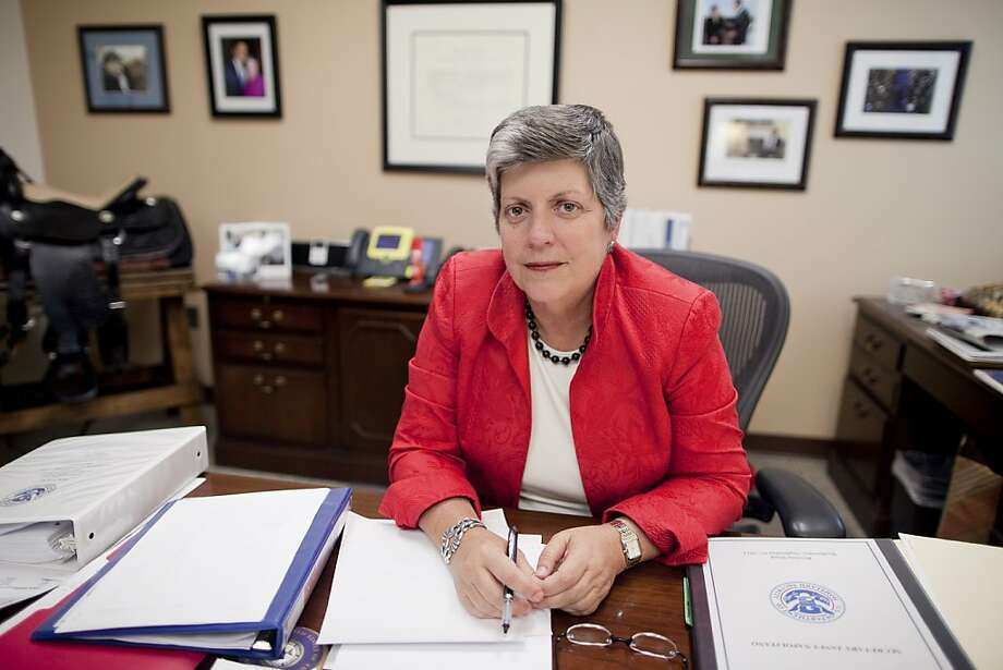 Prior to becoming the first woman to serve as the US Secretary of Homeland Security, Janet Napolitano was the Governor of Arizona from 2003 to 2009. She resigned her cabinet position in 2013 to become the first woman to be President of the University of California System.Source: Associated Press Photo: Andrew Harrer, Bloomberg
