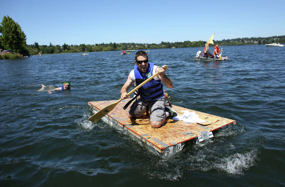 A competitor paddles furiously during the annual Seafair Milk Carton Derby. Photo: JOSHUA TRUJILLO, SEATTLEPI.COM