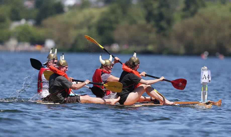 Competitors paddle during the annual Seafair Milk Carton Derby. Photo: JOSHUA TRUJILLO, SEATTLEPI.COM