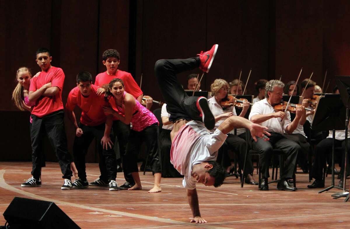 Westside High School Inertia Dance Company performs on the main stage during 'Day of Music' at Jones Hall during the Symphony's Centennial Season on Saturday, July 13, 2013, in Houston.