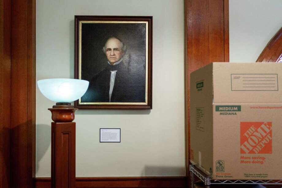 An original painting of Sam Houston hangs in a storage area of the Rosenberg Library, Monday, July 8, 2013, in Galveston. Photo: Michael Paulsen, Houston Chronicle / © 2013 Houston Chronicle
