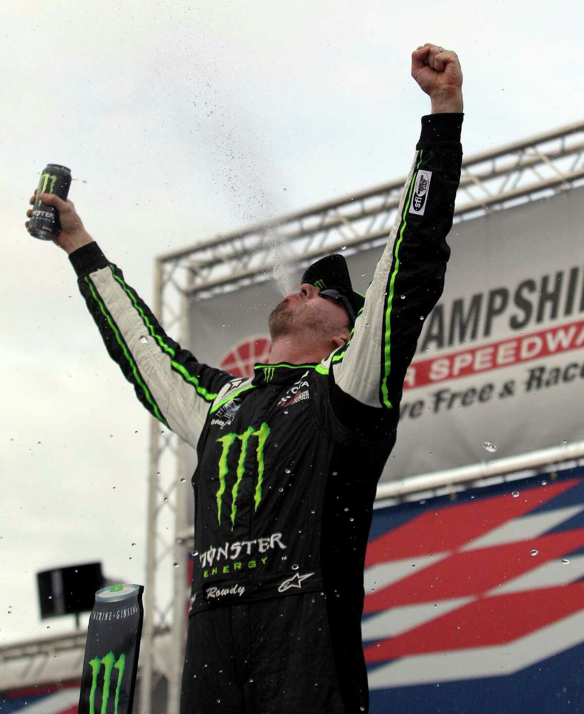 Kyle Busch lets out a celebration - and some of his energy drink - after his Nationwide Series win.