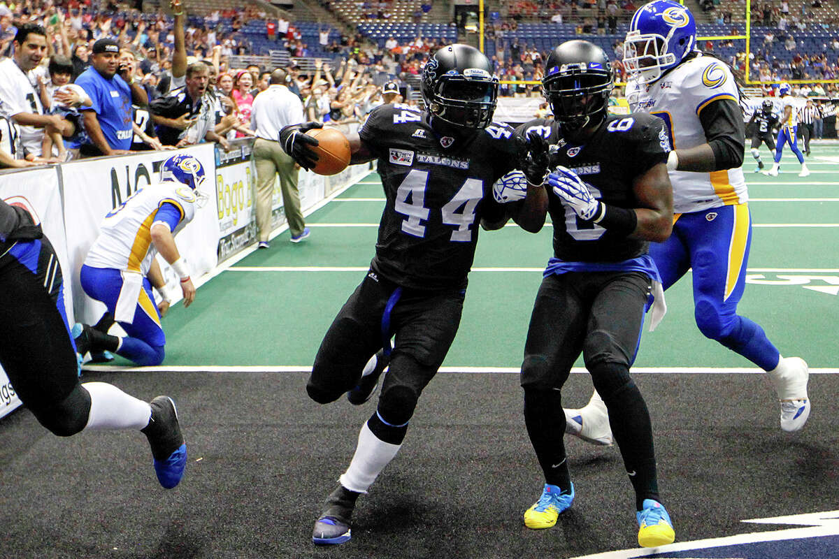 Jamar Ranson (44) scores on a 20-yard pass interception during the second quarter of the Talons game with the Tampa Bay Storm at the Alamodome on Saturday, July 13, 2013. MARVIN PFEIFFER/ mpfeiffer@express-news.net