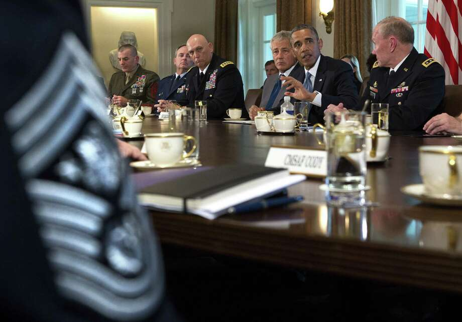 President Barack Obama at a meeting on sexual assault in the military in the Cabinet Room of the White House on May 16. Photo: Doug Mills / New York Times
