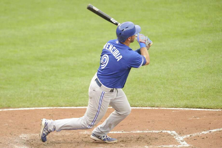 J.P. Arencibia had the key hit — a two-run single during the sixth inning — in the Blue Jays' victory. Photo: Mitchell Layton / Getty Images