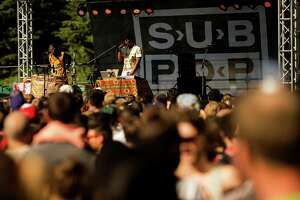 Shabazz Palaces performs during Sub Pop's Silver Jubilee Saturday, July 13, 2013, in the Georgetown neighborhood of Seattle. The free event commemorated 25 years of existence for the Seattle-local label.