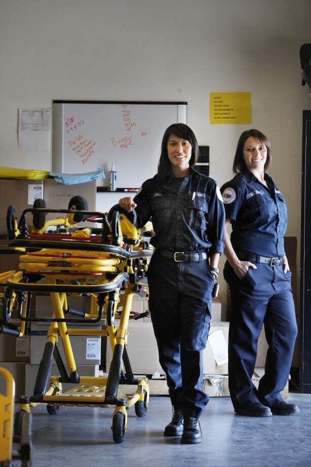 American Medical Response emergency medical technicians Karla Louie (l to r) and Maleah Goodreau are seen at the American Medical Response San Francisco operation on Friday, July 12, 2013 in San Francisco, Calif.