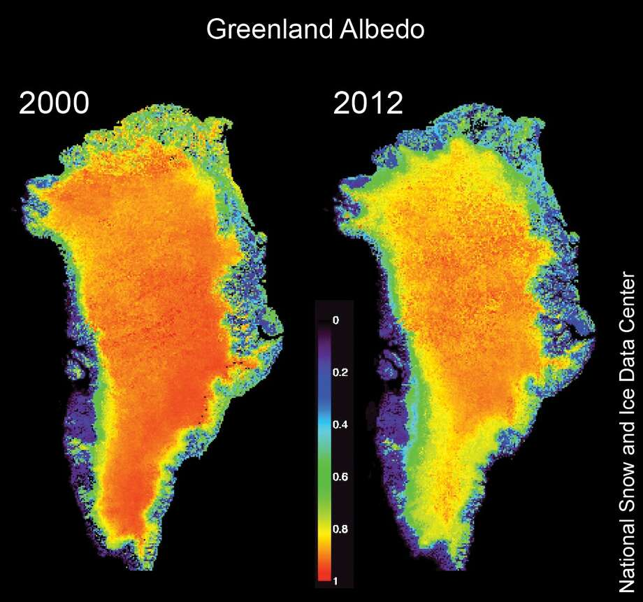 This image provided by the National Snow and Ice Data Center via The Herald-Times shows the amount of sunlight reflecting off Greenland is 2000 and 2012. An environmental science professor in Indiana University's School of Public and Environmental Affairs is documenting Greenland's shrinking ice cap and the effects of that melting. Jeffrey White has been traveling there winter and summer for several years to collect data. Photo: AP