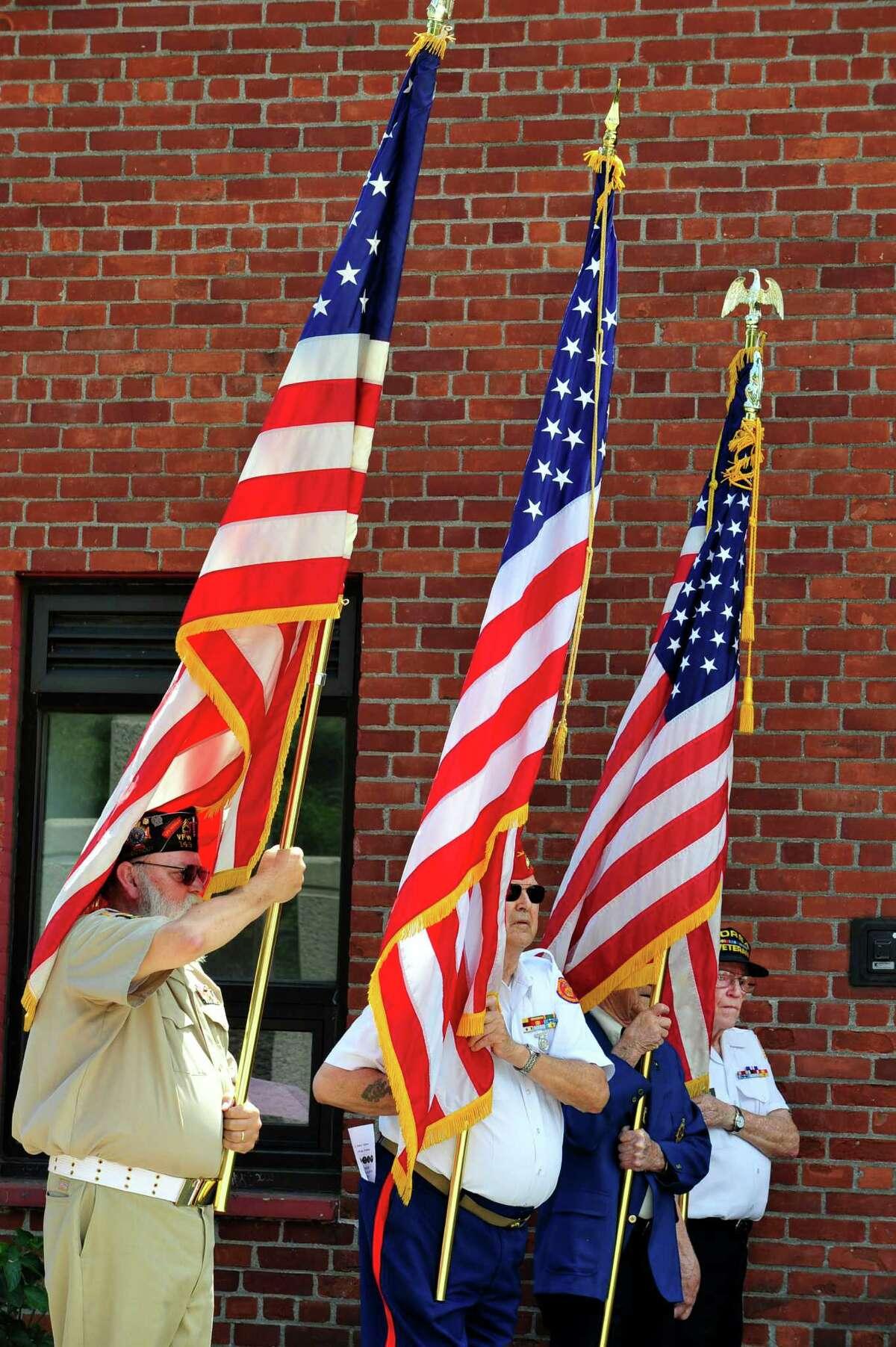 The Veterans Walkway of Honor dedication ceremony takes place at the Danbury War Memorial, in Danbury, Conn. Sunday, July 14, 2013.