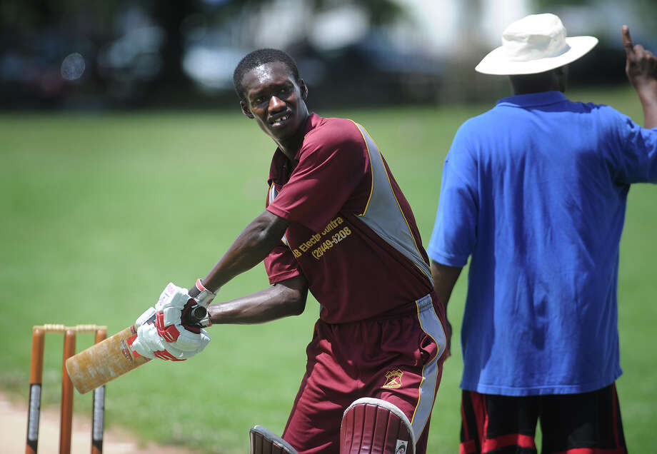 Bridgeport Cricket Club batsman Devrue James of Bridgeport awaits the next ball during a match with the Cheshire Cricket Club at Newfield Park in Bridgeport, Conn on Sunday, July 14, 2013. Photo: Brian A. Pounds / Connecticut Post