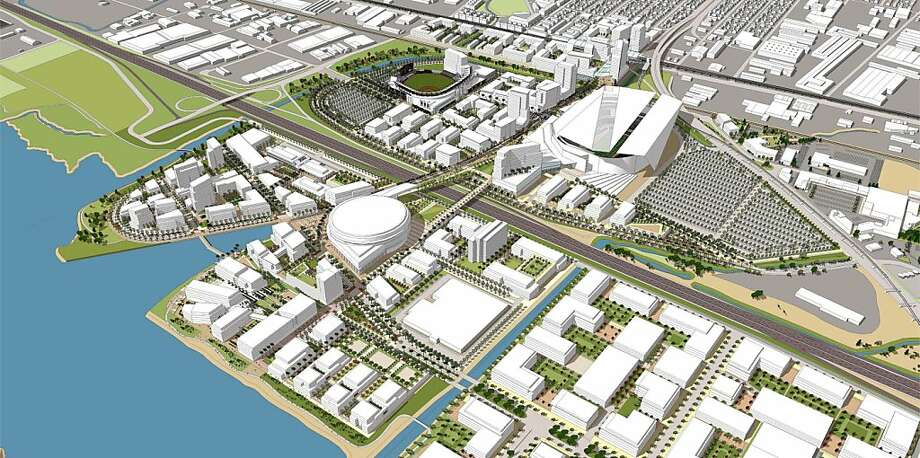 The proposal, shown in a rendering, envisions new stadiums and an arena on waterfront land near Oakland's O.co Coliseum. Photo: Hks