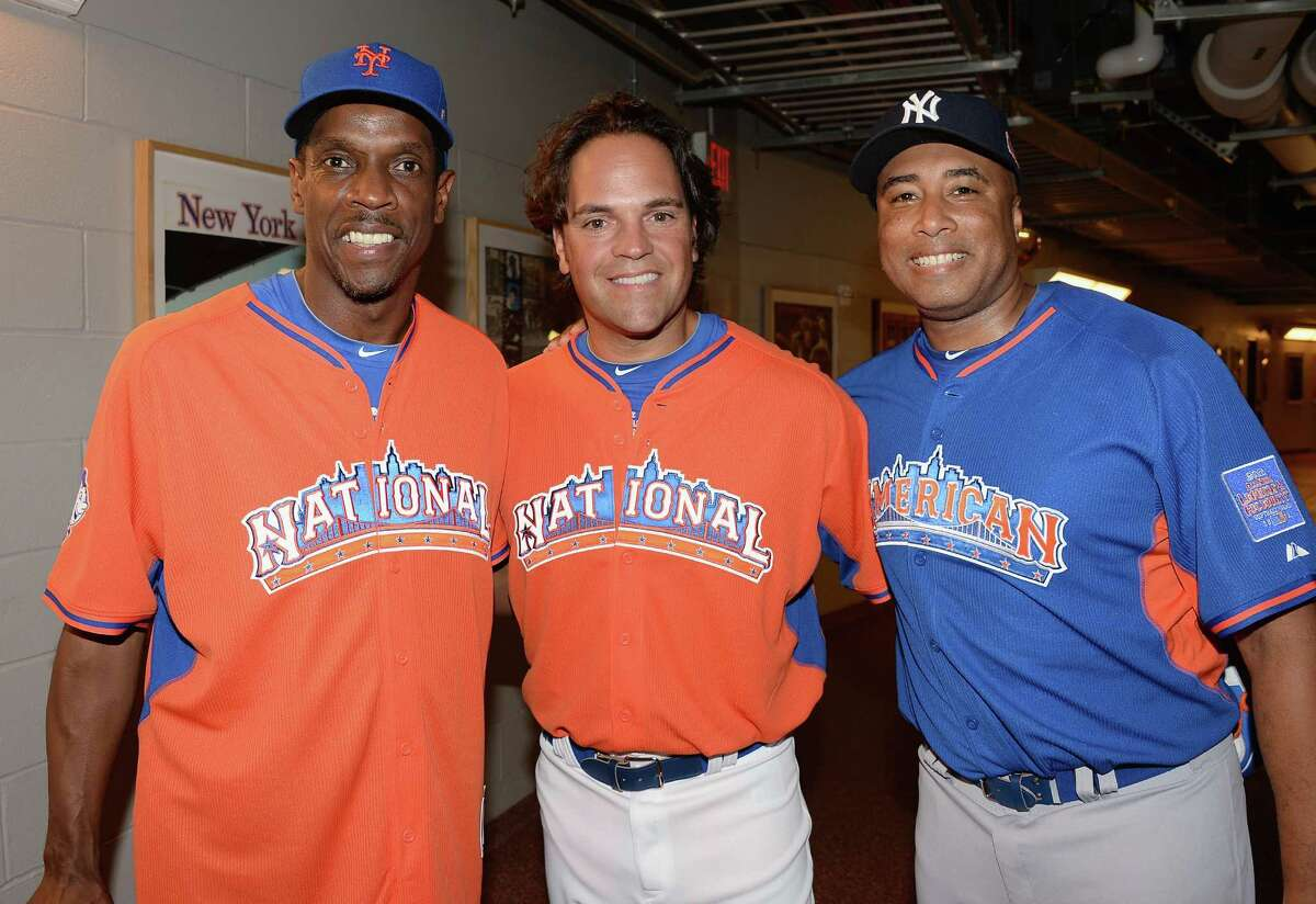 Dwight Gooden, Mike Piazza and Bernie Williams attend the 2013 Taco Bell All-Star Legends & Celebrity Softball Game at Citi Field on July 14, 2013 in the Queens borough of New York City.