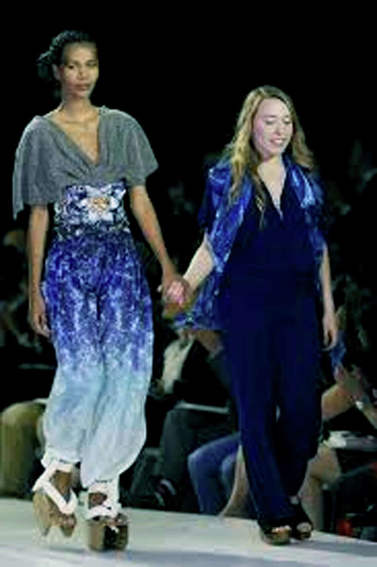 Hannah Ross, right, a graduate of Shepaug Valley High School, is shown with a model during her recent fashion show of her creations in Manhattan. May 2013