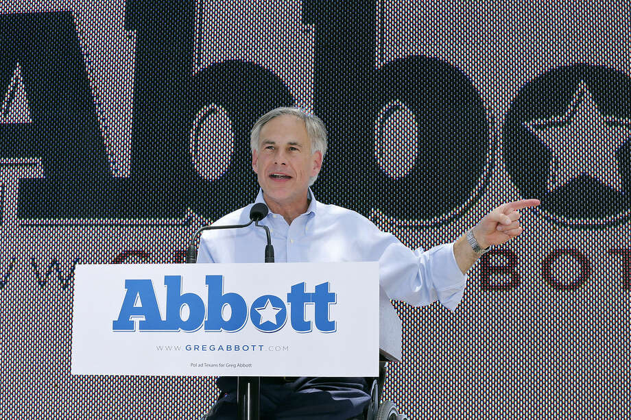Greg Abbott, speaking at La Villita, said he has shown determination in the face of adversity throughout his legal career. Photo: Edward A. Ornelas / San Antonio Express-News