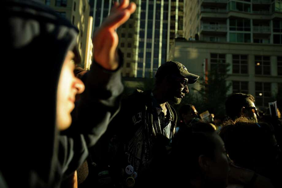 Trayvon Martin supporters gather on the steps of the Federal Courthouse. Photo: JORDAN STEAD, SEATTLEPI.COM / SEATTLEPI.COM