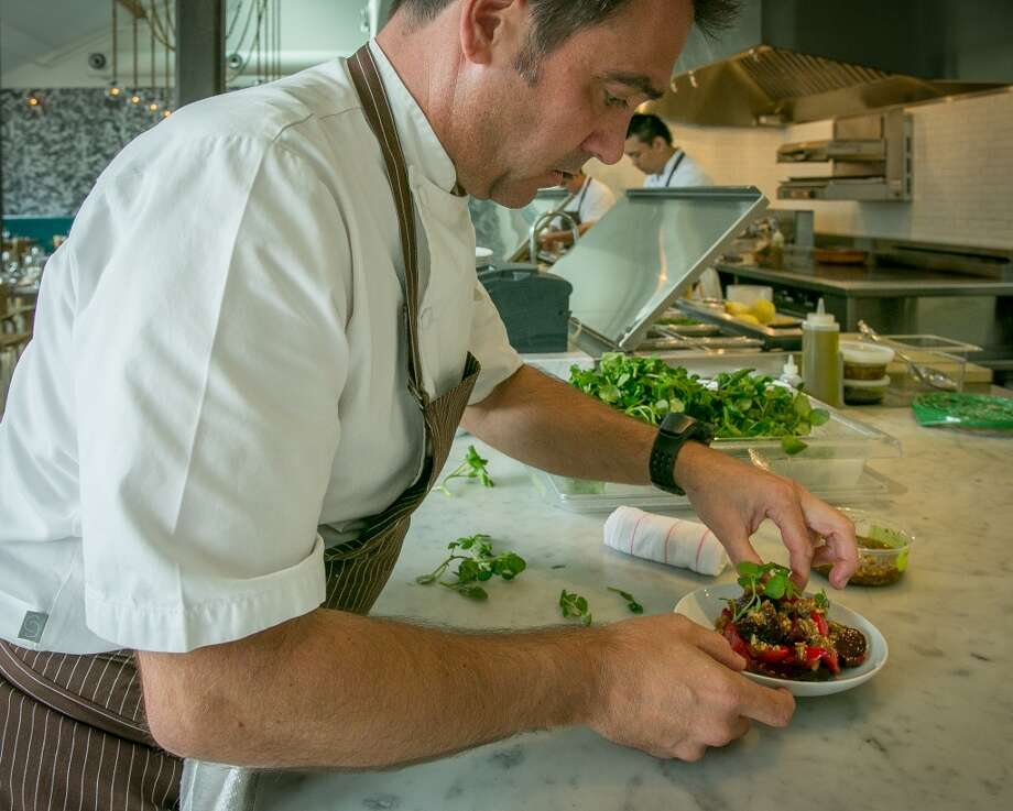 Chef Jeff Cerciello makes the County Line Harvest Roasted Beets at Farmshop in Larkspur.