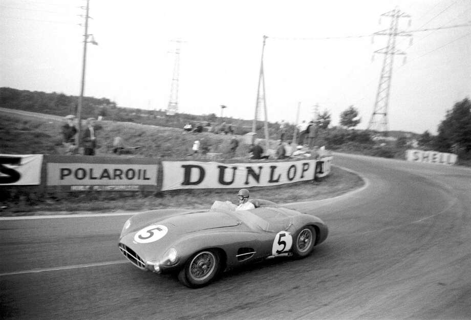 The 24 Hours of Le Mans; Le Mans,  June 22-23, 1957. The Aston Martin DBR2 of Peter and Graham Whitehead at Mulsanne. Another gearbox failure. Photo: Klemantaski Collection, Getty Images / 2009 Getty Images