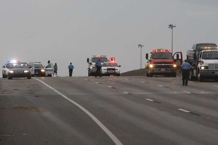 A 10-car pileup on on I-45 brought traffic to a standstill Monday morning, July 15, 2013. (Cody Duty / Houston Chronicle)