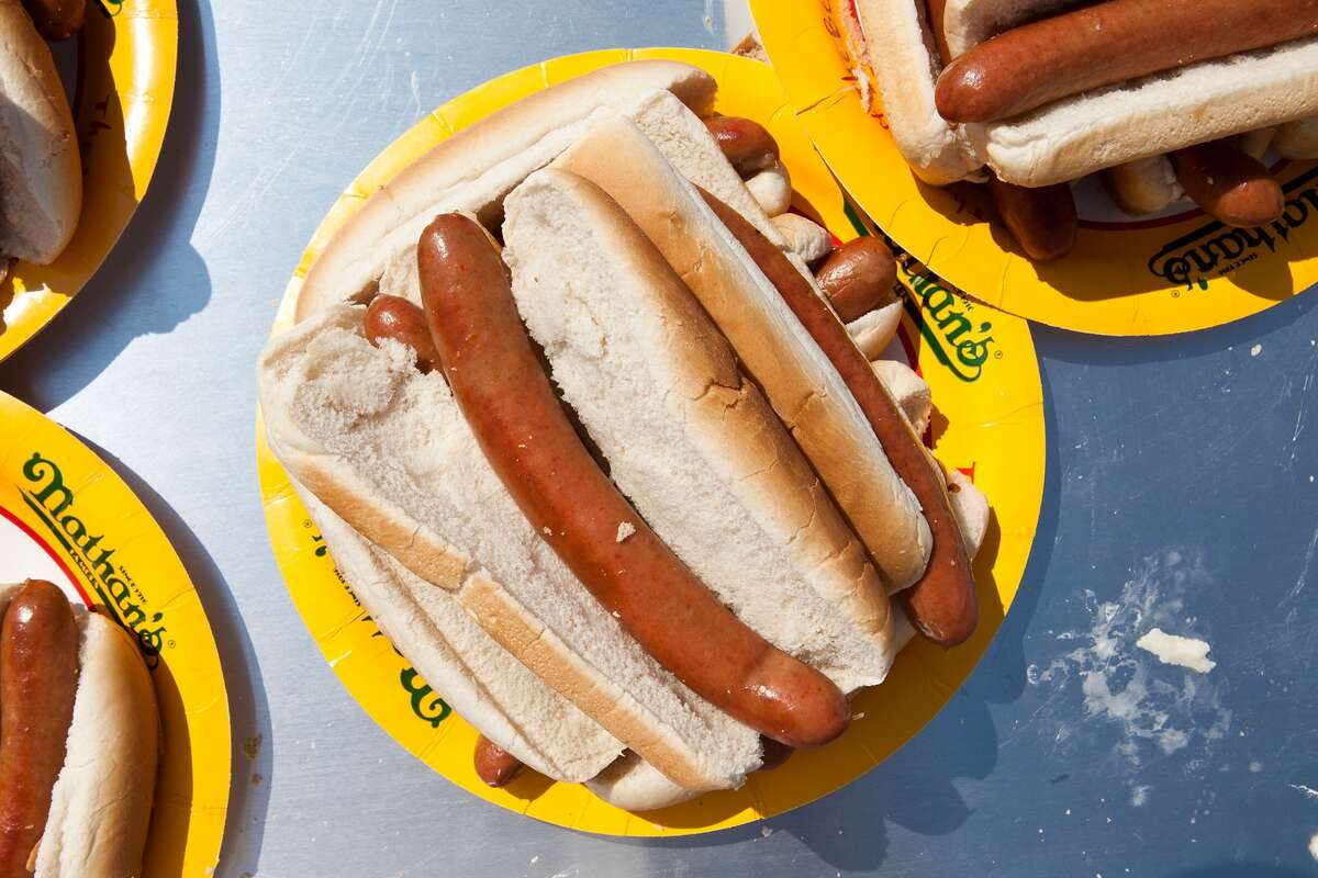 The Coney Island hot dog from Nathan's Famous Hot Dogs is a New York icon - the crisp casing is a clear give away. These dogs are generally served with mustard and white onion, often with chili or sauerkraut.