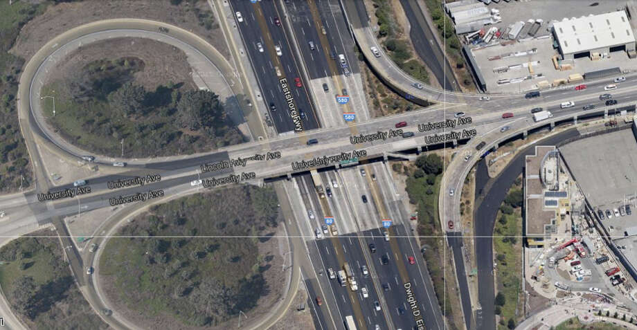 Aerial view of the University Avenue overpass near Interstate 80 in Berkeley Photo: Google Maps