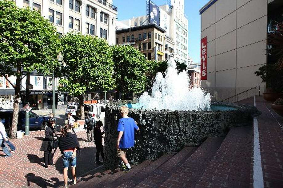 Ruth Asawa's 'Hyatt on Union Square Fountain', 1973, seen in the middle at the triangular plaza behind the Levi's store in San Francisco, Calif., on Friday, May 24, 2013.