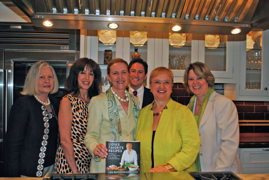 Coldwell Banker Residential Brokerage sales associates attended a panel discussion on luxury home trends followed by a networking reception. From left are Kate Nedder of Darien, Tracey Ozendo of New Canaan, Ellen Christian of Darien, Charlie Nedder of Greenwich; author, chef and TV personality Lidia Bastianich; and Arlene Bubbico of New Canaan. Photo: Contributed