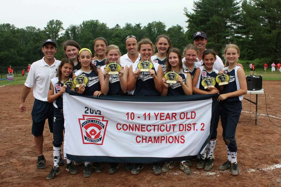 The Westport 11-year-old all-stars won the District 2 softball championship on Saturday with a 2-1 win over Fairfield at Dougiello Field in Fairfield. Pictured, back row, left to right, are coach Andrew Klein, Catherine Connell, Natalie Schenck, coach Louis Alfero, Maddie McGarry, head coach Mark McWhirter. From row, left to right, are Ali Green, Sophia Alfero, Kate Feinberg, Erin McWhirter, Ellie Klein, Madeline Howard, Sami Levin, Erica Fanning. Photo: Contributed Photo / Norwalk Citizen