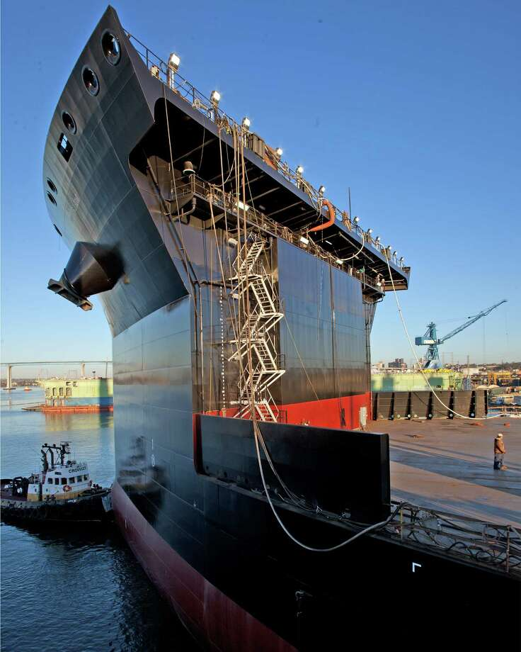 The U.S. Navy's first mobile landing platform ship floats out from General Dynamics NASSCO's building dock in San Diego, before the ship's christening as the USNS Montford Point. Photo: General Dynamics NASSCO
