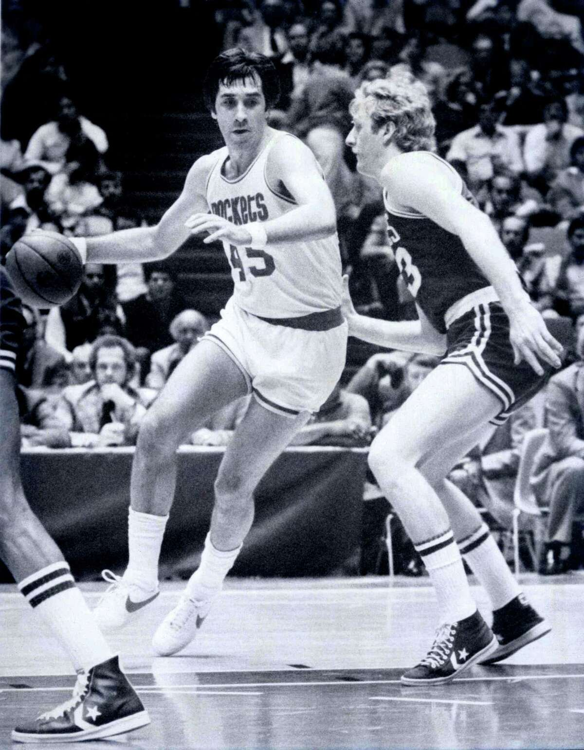 45 - Rudy Tomjanovich Rudy T is, fittingly, the only player ever to wear No. 45. It was retired. He was a five-time All-Star and is third in points scored in franchise history. He later led Houston to its two NBA titles as coach and is regarded as one of the most beloved Rockets ever.