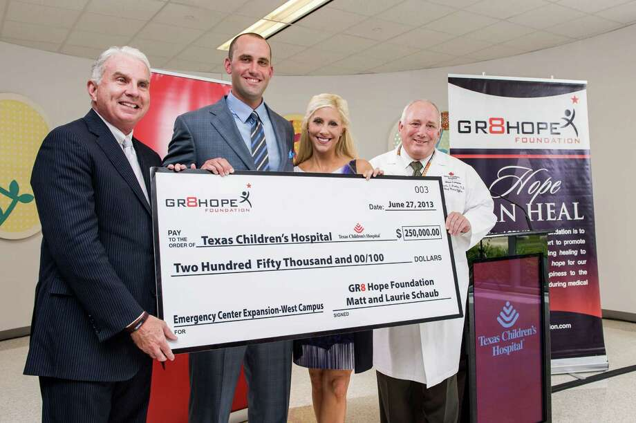 Houston Texan's quarterback Matt Schaub and his wife, Laurie, have pledged $1 million to the Texas Children's Hospital. Photo: Courtesy Of Texas Children's Hospital