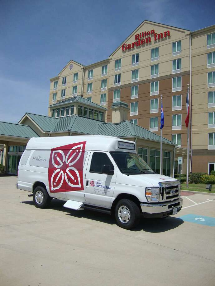 The Hilton Garden Inn Houston Energy Corridor recently acquired a new 11-passenger Flex Fuel shuttle van with added headroom and larger luggage space. Photo: Courtesy Of Hilton Garden Inn Houston Energy Corridor