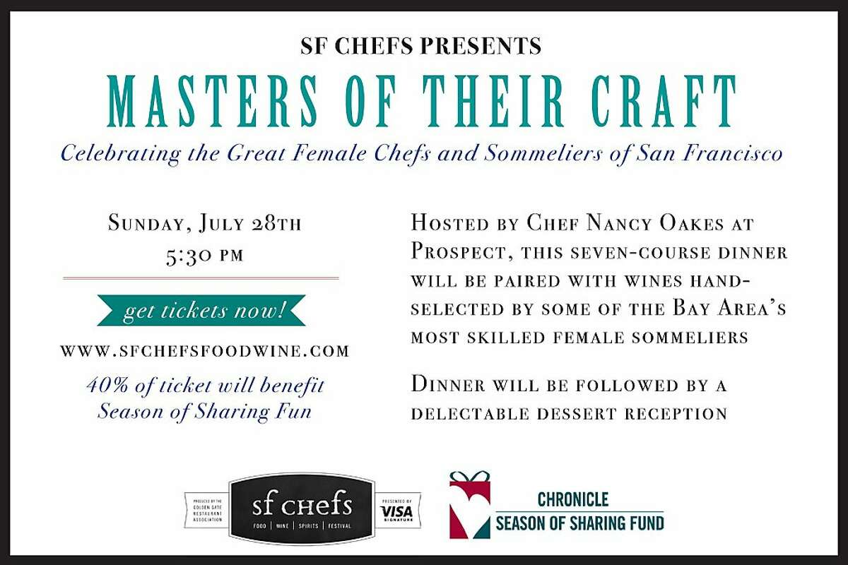 SF Chefs is hosting a special dinner by female chefs July 28.