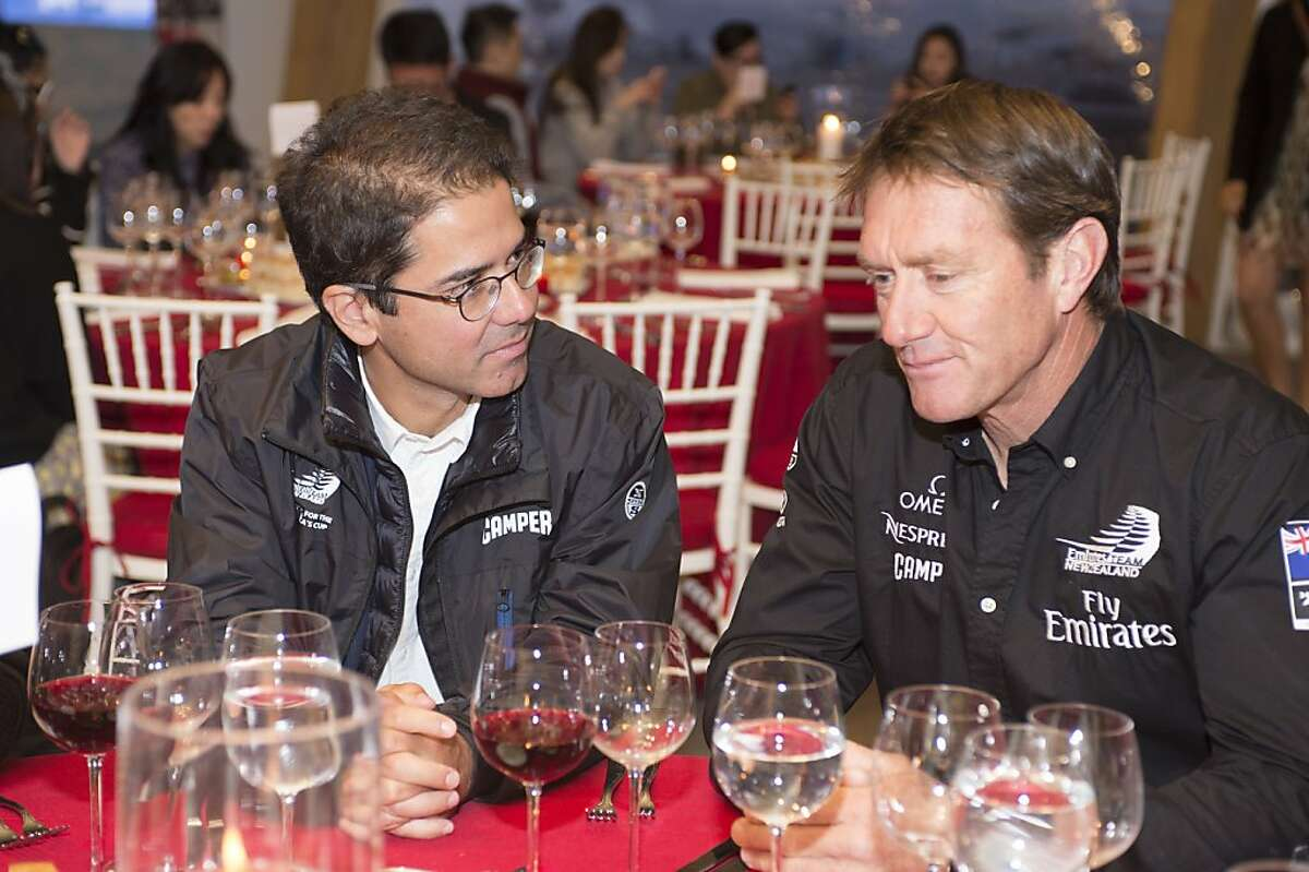 Camper, a sponsor of the New Zealand America's Cup team, held a dinner for supporters and fans Friday, July 12, at the waka hospitality center. Camper's CEO Miguel Fluxa (left) is pictured with longtime team member Tony Rae. CAMPER dinner at the Emirates Team New Zealand Hospitality tent, the Waka. 12/7/2013