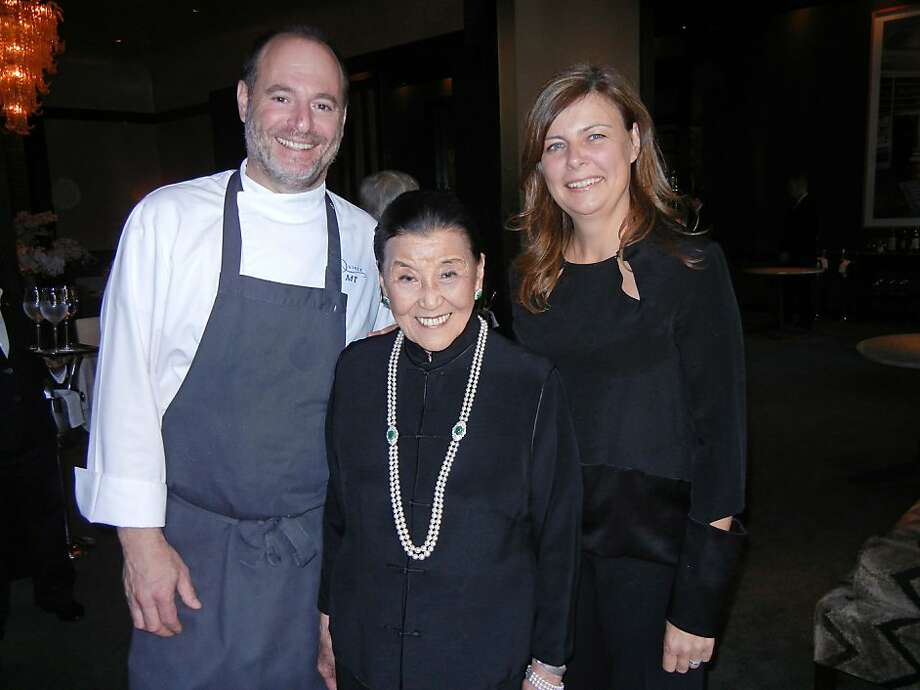Chef Michael Tusk (left) with Cecilia Chiang and his wife, restaurateur Lindsay Tusk, at Quince. Photo: Catherine Bigelow, Special To The Chronicle