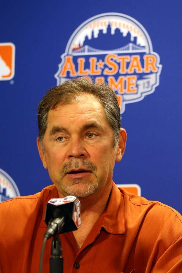 Manager of the National League All-Stars, Bruce Bochy speaks to the media during Gatorade All-Star Workout Day on July 15, 2013 at Citi Field in the Flushing neighborhood of the Queens borough of New York City.