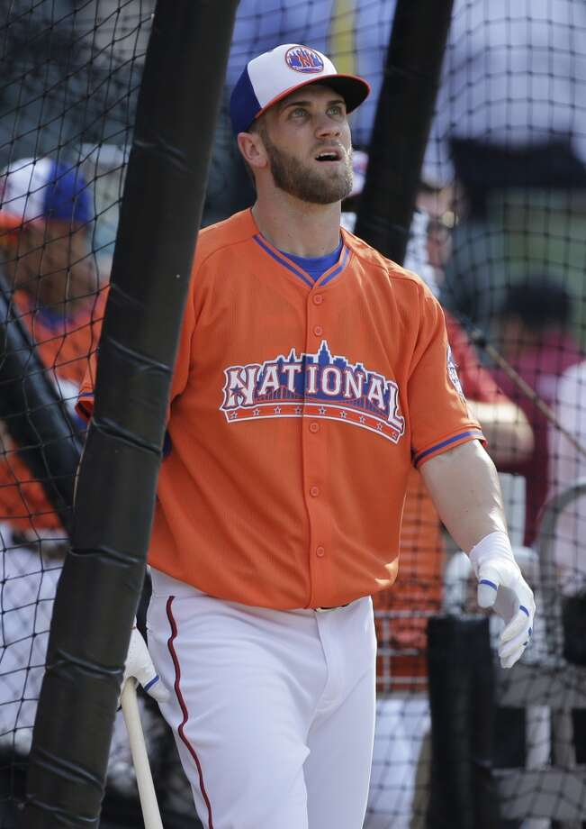 National League's Bryce Harper, of the Washington Nationals, in the batting cage during batting practice for the MLB All-Star baseball game.