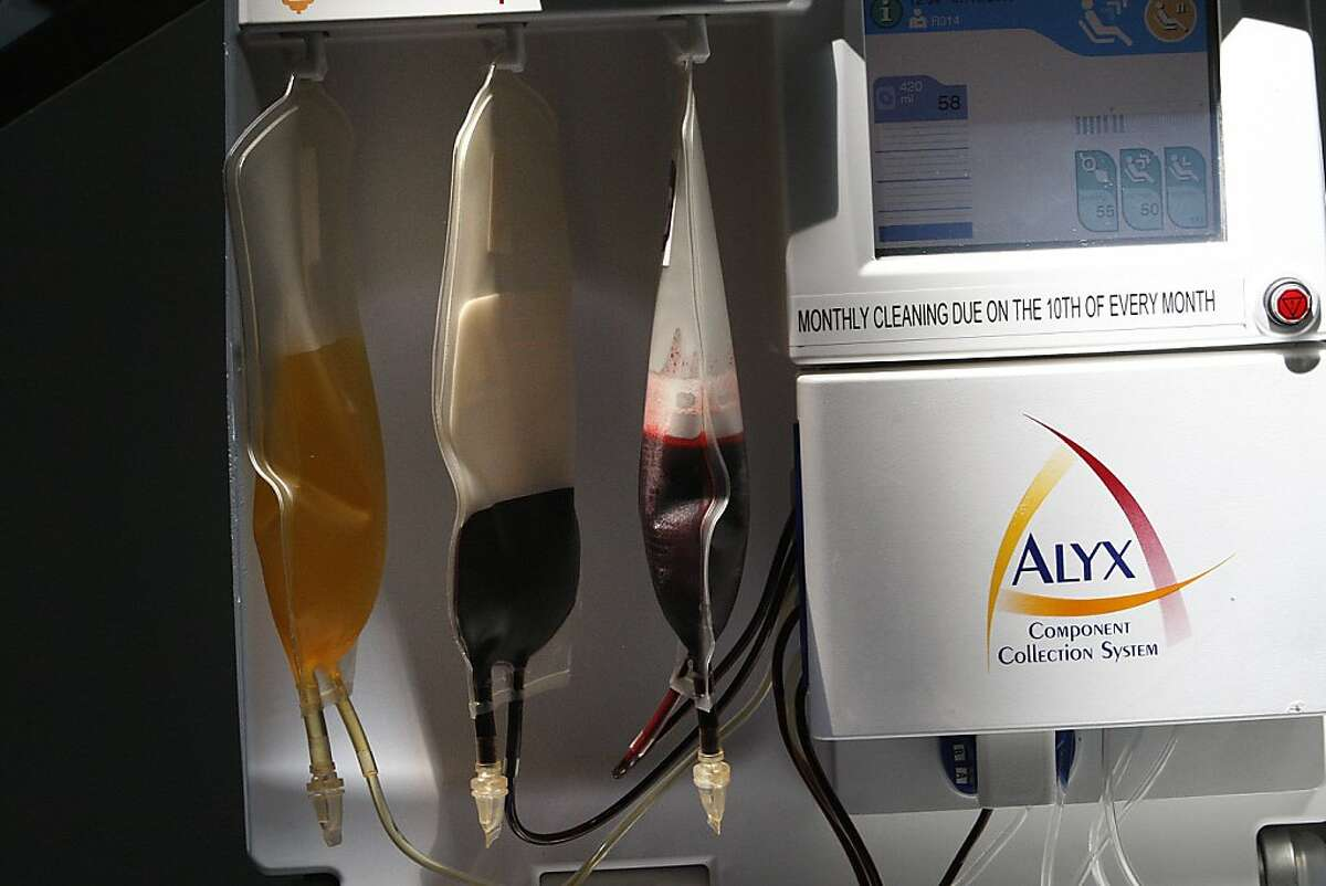 Blood collected using the Alyx component collection system at San Francisco International airport in San Francisco, Calif., which hosted a blood drive in conjunction with Blood Centers of the Pacific and Stanford Blood Bank on Monday, July 15, 2013. The donated blood will assist the passengers and crew members of Asiana Flight 214 and to replenish blood supplies used as a result of the accident.