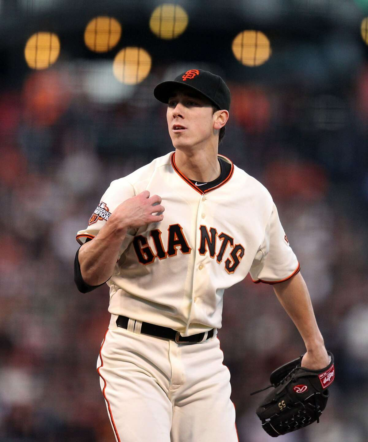 Tim Lincecum starting pitcher of the San Francisco Giants reacts after striking out Adam Lind of the Toronto Blue Jays in the 4th inning of their MLB baseball game Tuesday, June 4, 2013 in San Francisco Calif.