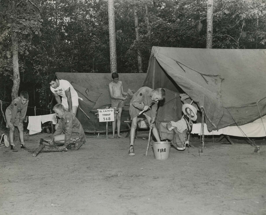 Boy Scouts with Troop 368 of El Campo set up camp at Camp Strake in 1950. The property is one of the largest available tracks of land in the Houston area. Photo: Gunnar Liljequist Jr., HC Staff / Houston Chronicle