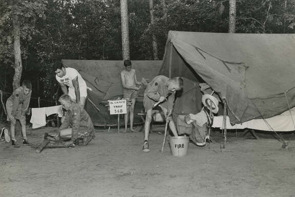 Boy Scouts with Troop 368 of El Campo set up camp at Camp Strake in 1950. The property is one of the largest available tracks of land in the Houston area.