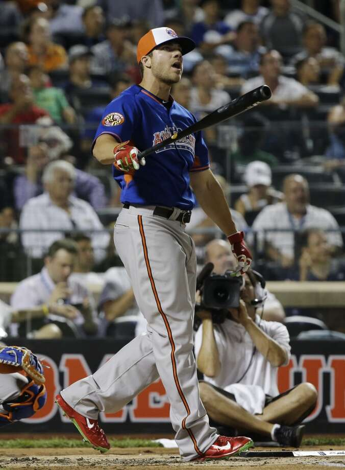 Chris Davis of the Baltimore Orioles watches his hit during the Home Run Derby.