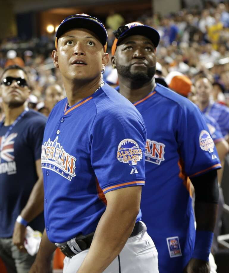Detroit Tigers All-Star Miguel Cabrera and David Ortiz watch a home run during All-Star festivities.