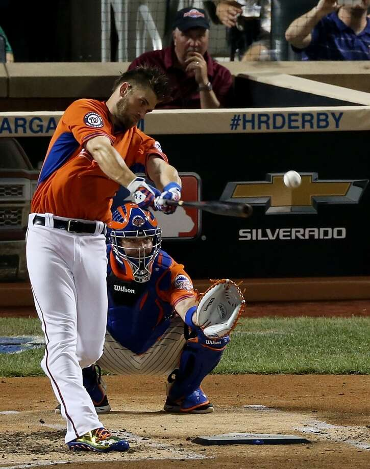 Bryce Harper of the Washington Nationals takes a swing during the Home Run Derby.