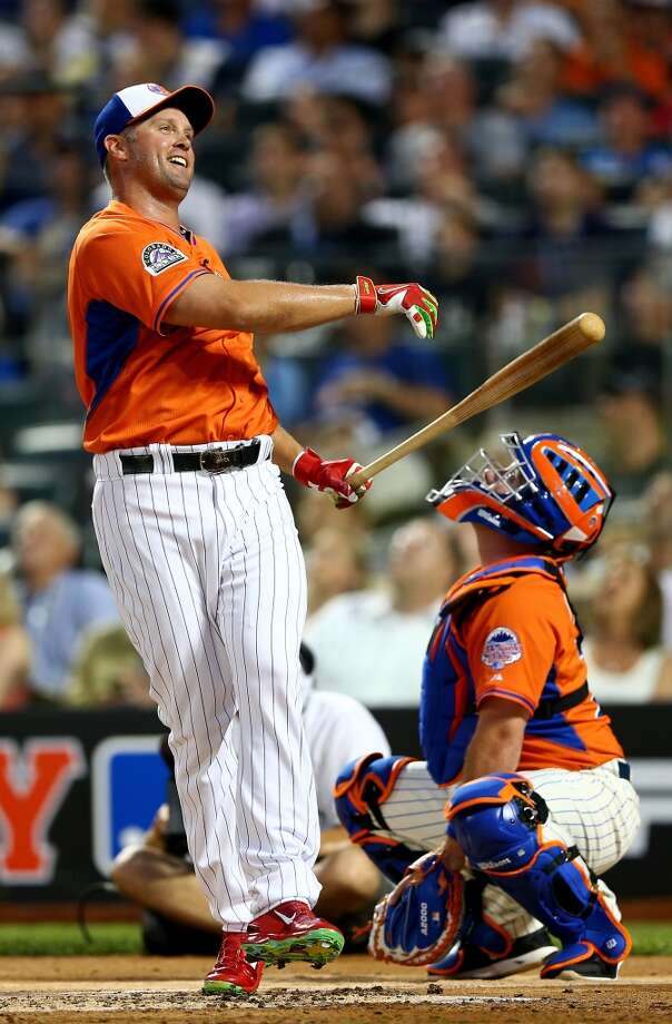 Michael Cuddyer of the Colorado Rockies reacts after taking a swing during the Home Run Derby.