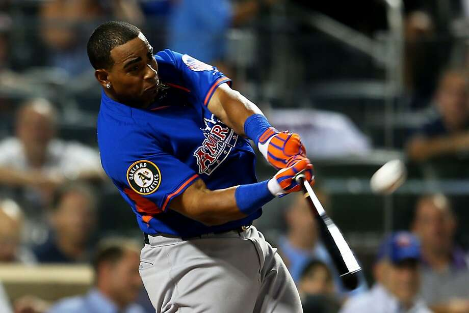 Home run Derby participant Yoenis Cespedes bats during the Chevrolet Home Run Derby. Photo: Mike Ehrmann, Getty Images