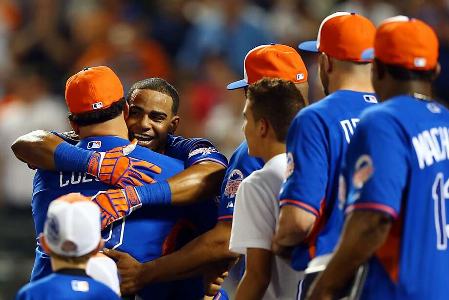 Yoenis Cespedes of the Oakland Athletics celebrates after winning the Chevrolet Home Run Derby. Photo: Elsa, Getty Images