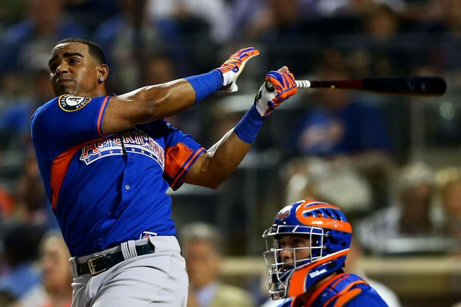 Home run derby participant Yoenis Cespedes bats during the Chevrolet Home Run Derby on July 15, 2013 at Citi Field in the Flushing neighborhood of the Queens borough of New York City.