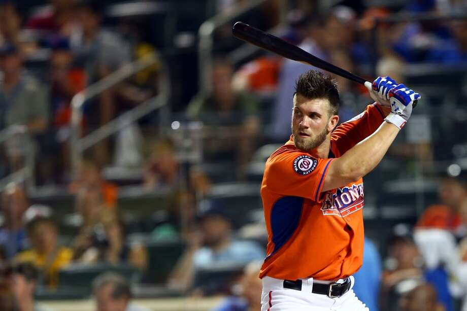 Bryce Harper of the Washington Nationals bats during the Chevrolet Home Run Derby.