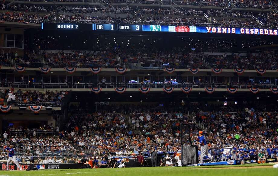 Yoenis Cespedes of the Oakland Athletics bats during the Chevrolet Home Run Derby.