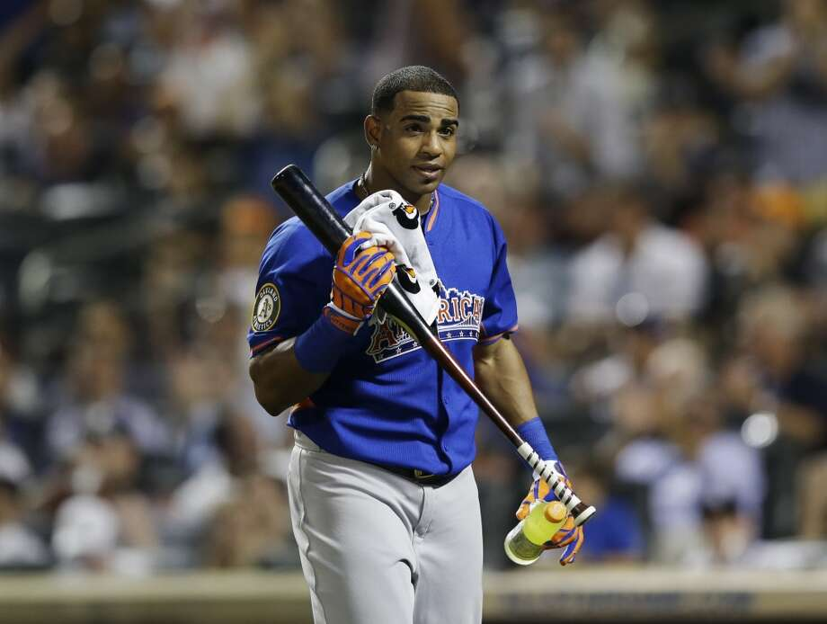 Cespedes after hitting in the MLB All-Star baseball Home Run Derby.